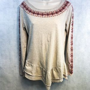 Sundance Aztec Embroidered Top Sz M